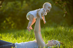 Mother and baby outdoors Stock Photography