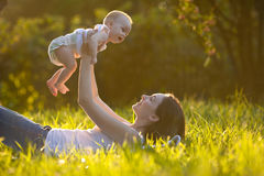 Mother and baby outdoors Royalty Free Stock Images