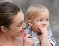 Mother and baby outside Stock Photography