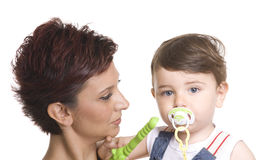 Mother with baby over white. Picture of happy mother with baby over white Stock Photo