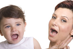 Mother with baby over white. Picture of happy mother with baby over white Royalty Free Stock Images