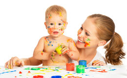 Mother and baby paint colors hands dirty isolated on white stock images