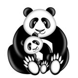 Mother and Baby Panda Bear. Hugging Illustration Isolated on White Background stock illustration