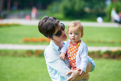 Mother and baby in park Royalty Free Stock Photography