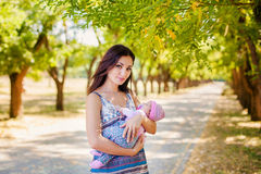 Mother and baby in park Royalty Free Stock Photo