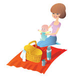 Mother with baby on a picnic. Young mother with baby on a picnic. Basket food stand on the Mat royalty free illustration