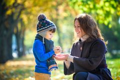 Mother and baby play in autumn park. Parent and child walk in th royalty free stock photos
