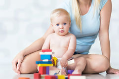 Mother and baby playing with blocks Royalty Free Stock Photography