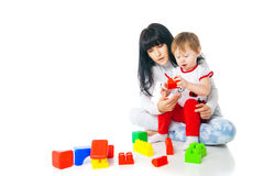 Mother and baby playing with building blocks toy Royalty Free Stock Photography