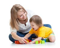 Mother and baby playing and having fun Stock Images