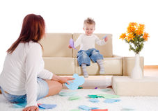 Mother and baby playing at home Royalty Free Stock Photos