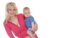 Mother and baby playing over white Royalty Free Stock Photography