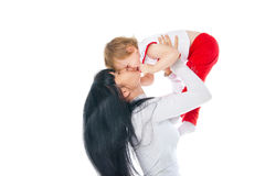 Mother and baby playing over white background Royalty Free Stock Photos
