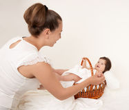 Mother and baby portrait on white, health family and care concept Royalty Free Stock Images