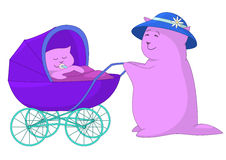 Mother and baby in a pram Royalty Free Stock Photos