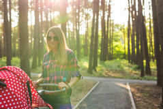 Mother with baby in pram walking in summer park Stock Image
