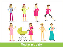 Mother and baby. Pregnant woman and woman with newborn baby, mother and baby. Vector characters in cartoon style Royalty Free Stock Image