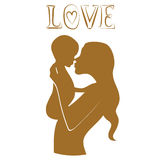 Mother with baby print Royalty Free Stock Photo