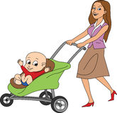 Mother with a Baby. Mother pushing baby in stroller Stock Images