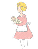 Mother and baby retro style. Illustration stock illustration