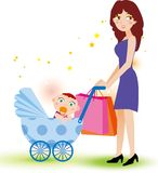 Mother and baby shopping Royalty Free Stock Images