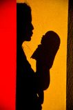Mother and baby silhouette Royalty Free Stock Photo