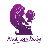 Mother and baby silhouettes Royalty Free Stock Photo