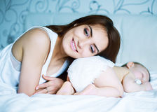 Mother and  baby sleep Stock Photography