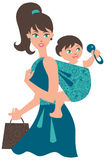 Mother with baby in a sling. Active mother with baby in a sling Stock Photography