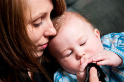 Mother and baby son Stock Images