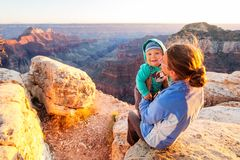 A mother with baby son in Grand Canyon National Park, North Rim, Royalty Free Stock Photos