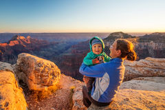 A mother with baby son in Grand Canyon National Park Royalty Free Stock Image