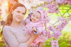 Mother and baby in spring Stock Image