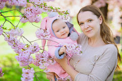 Mother and baby in spring Stock Images