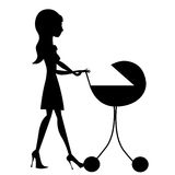 Mother with baby stroller Royalty Free Stock Photo