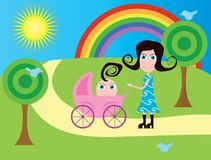 Mother with baby stroller Stock Image