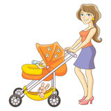 Mother and baby stroller. Young mother and baby stroller. Happy mom and baby. Isolated vector illustration Royalty Free Stock Images