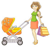 Mother and baby stroller. Young mother and baby stroller. Happy mother and her child went shopping. Vector illustration Stock Photo