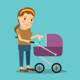Mother with baby stroller Stock Photo