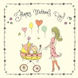 Mother with baby in stroller,Happy Mother`s Day card. Stock vector illustration royalty free illustration