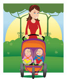 Mother and baby stroller Stock Images