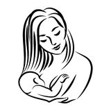 Mother with baby. Stylized outline symbol. Woman breastfeeding Royalty Free Stock Photos