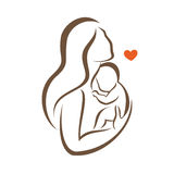 Mother and baby stylized vector silhouette. Outlined sketch of mom and child Stock Photography