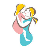 Mother and baby stylized vector symbol. Mom huges her child logo template Royalty Free Stock Image