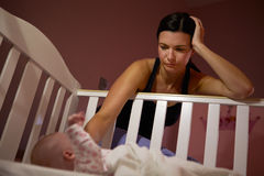Mother With Baby Suffering From Post Natal Depression Royalty Free Stock Photography