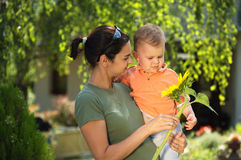 Mother and baby in summer Stock Photography