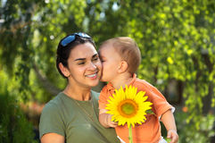 Mother and baby in summer Stock Photo