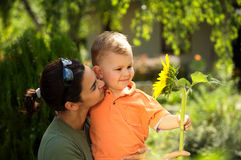 Mother and baby in summer Stock Images