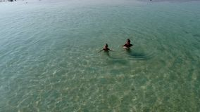 Mother with baby are swimming in a pure blue sea. stock video footage