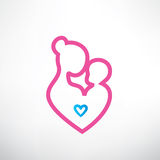Mother and baby symbol. In a heart shape Stock Images